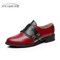 Cow leather big woman US size 10 designer vintage flats shoes round toe handmade red black oxford shoes for women with fur