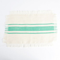 Striped Fringed Jute Placemat Set of 4 (Sea Green)