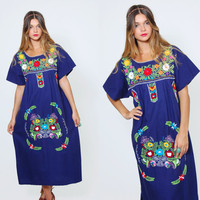 Vintage 70s MEXICAN Dress Navy Blue EMBROIDERED Ethnic Hippie Floral Dress Boho Festival Dress