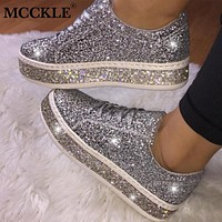 MCCKLE Women Glitter Sneakers Bling Flats Woman Spring New Casual Ladies Vulcanized Shoes Female Comfort Lace Up Fashion Shoes