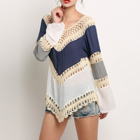 Knit Splice Hollow Out Blouse
