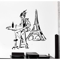Wall Vinyl Decal Girl Drinking In Paris Eiffel Tower France Romantic Love Decor Unique Gift z4418