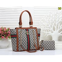 Gucci Women Fashion Leather Satchel Bag Shoulder Bag Handbag Crossbody Set Two Piece 3#