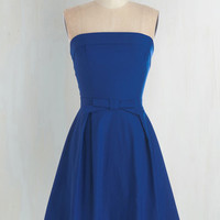 Rockabilly Mid-length Strapless Fit & Flare Right on Timeless Dress in Cobalt