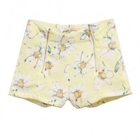 Flower Print Chiffon Shorts with Zip Front