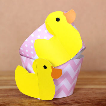 DIY Printable Patterned Rubber Duckie Cupcake Wrapper Set - baby shower – rose pink polka dot and chevron patterns INSTANT DOWNLOAD