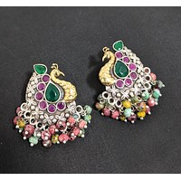 Dual tone German silver Peacock stud earring with cluster beads