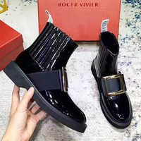 ROGER VIVIER Classic Popular Women Leather Shoes Boot Black