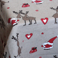"Linen Tablecloth Burlap Square Prewashed Rudolf Reindeer Christmas Holiday 57"" x 57"""