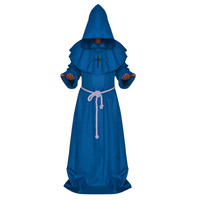 Halloween Cosplay Middle Ages Monk Wizard Christian  blue