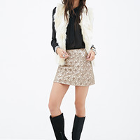 FOREVER 21 Sequin Pattern Mini Skirt Taupe/Gold
