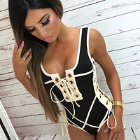 2018 Sexy White Solid One-piece Swimsuit Swimming Suit For Women Chest Bandage Double Shoulder Strap Swimwear Bathing Beach Wear