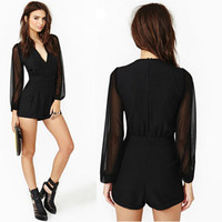 Women's Sexy V Neck Long Sleeve Bodycon Jumpsuit &Romper Short Trousers Clubwear
