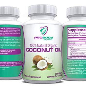 1000mg Organic Coconut Oil Capsules - Healthy Natural Support for Diet, Weight Loss & Beautiful Hair, Skin & Nails