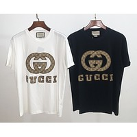 Gucci new short-sleeved top GG canvas embroidered pattern fashion men's and women's T-shirts