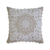 Tan & White Embroidered; Applique Work; Beaded Pillow Cover