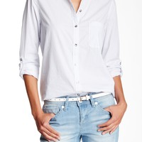 Long Sleeve Fit Contrast Blouse