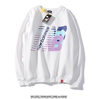 NEW BALANCE hot selling color long-sleeve pullovers with stylish couples' round-neck hoodies White