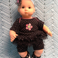 """AMERICAN GIRL Bitty Baby Clothes """"1 Pink Posie"""" (15 inch) doll outfit dress shorts booties sock headband N5"""