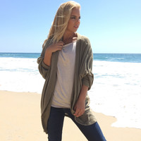 Out Of The Woods Knit Cardigan In Olive