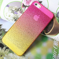 Yellow and Rose Red iphone 5case hard case, iphone 5 drops of water protection sets fresh raindrops gradient free shipping