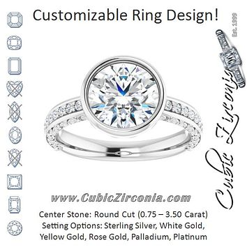 Cubic Zirconia Engagement Ring- The Araceli (Customizable Bezel-set Round Cut Design with Cloud-pattern Band & Semi-Eternity Accents)