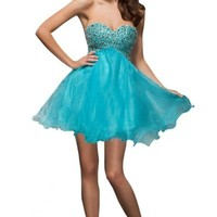 Sunvary New Sweetheart Organza Cockatil Dresses Homecoming Dresses for Juniors Short - US Size 2- Blue