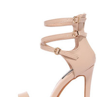 By Lamplight Nude Ankle Strap Heels