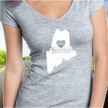 Maine Home T-Shirt - V-Neck - State Pride - Home Tee - Clothing - Womens - Ladies