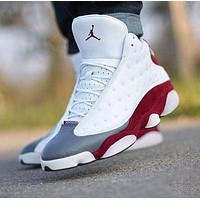 Air Jordan 13 AJ13 Fashionable Men Women Sport Running Basketball Shoes Sneakers White&Red&Grey-1