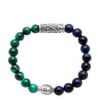 Silver Buddha With Blue Tiger Eye and Malachite