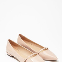 Pointed Faux Patent Flats