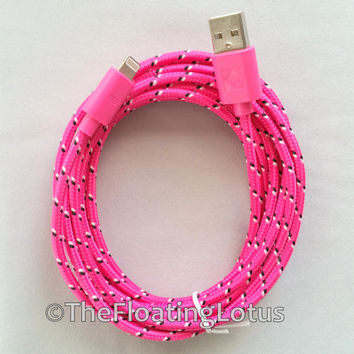 iPhone 5 iPhone 6 iPhone 6+ iPhone 6 Plus Cable Cord Charger 10ft Long Extended Cable Braided Durable Cord Hot Pink iPhone Charger