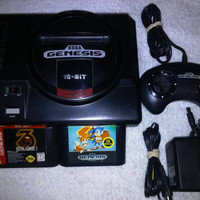 Sega Genesis System With One Controller And 2 Games