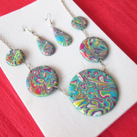 polymer clay jewelry,polymer clay necklace,colorful necklace,christmas gift for mom,gift for grandmother,wife gifts,earrings,jewelry set