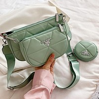 PRADA new product solid color sewing thread shoulder bag lady shopping chain messenger bag two-piece