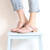 NEW Flat slippers Shoes , pink leather with geometric cutout