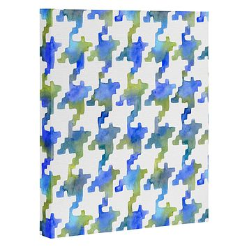 Betsy Olmsted Pixel Houndstooth in Cobalt Art Canvas