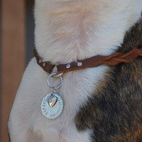 Adjustable Leather Dog Collar Necklace ID Tag Charm Safety Necklace with Twist Bohemian Rustic Southwest Boho Western Leather Dog Necklace