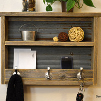 Rustic Naturally Weathered Reclaimed Wood Entryway organizer Hall Foyer Keys Phone Mail Holder Coat Rack Hook With Shelf Corrugated Barn Tin