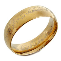 Intionix Shop Gold Titanium Steel Band Ring with Lord of the Ring Design Laser Engraving