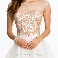 Illusion Beaded Sweetheart Bodice With Tulle Skirt Prom Dresses by Dave and Johnny