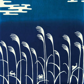 Japanese Tenugui Towel Cotton Fabric, Hand Dyed Fabric, Moon Night, Water, Pampas Grass, Home Decor, Traditional Art, Wall Hanging, k015