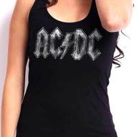 AC/DC Girls Tank Top - Distressed Logo