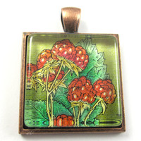Postage Stamp Pendant of Fruit, from Vintage, in Glass Tile Square
