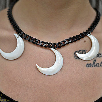 crescent moon godess black and white necklace