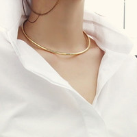 2016 New Trendy Gold Silver Metal Chain Round Circle Choker Necklace For Women Sexy Short Neck Collars Fashion Jewelry Gift XX90