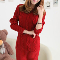 Twisted Knit Pattern Long Sleeve Tunic Top