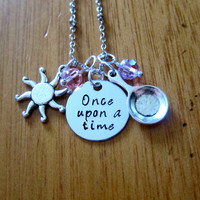 "Disney Inspired Princess Rapunzel Necklace. ""Once Upon A Time"". Tangled. Silver colored, Hand Stamped, Swarovski crystals. FREE shipping"