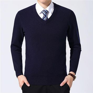 Sweater Men Clothes Autumn Winter Cashmere Wool Pullover Sweaters Plus Size Business Casual V-Neck Pull Homme